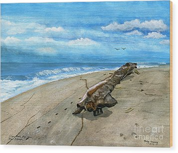 Wood Print featuring the painting Beach Drift Wood by Melly Terpening