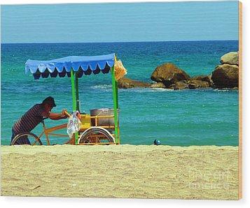 Beach Entrepreneur In San Jose Del Cabo Wood Print