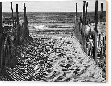 Beach Entry Black And White Wood Print by John Rizzuto