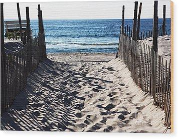 Beach Entry Wood Print by John Rizzuto