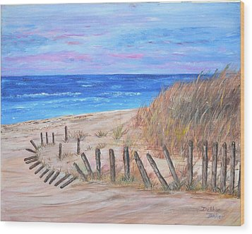 Wood Print featuring the painting Beach Fence by Debbie Baker