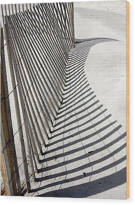 Wood Print featuring the photograph Beach Fence With Shadow by Ellen Tully
