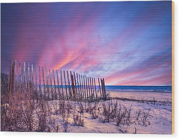 Beach Fences Wood Print by Debra and Dave Vanderlaan