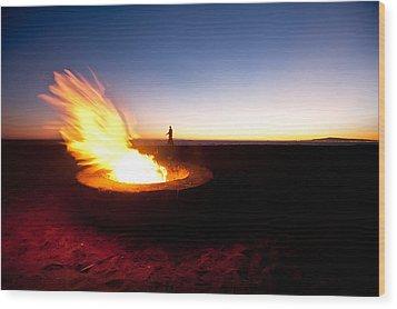 Beach Fire Pit Wood Print