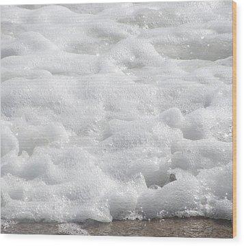 Beach Foam Wood Print by Cathy Lindsey