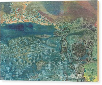 Wood Print featuring the mixed media Beach Friends Flotsam And Jetsam by Catherine Redmayne