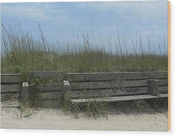 Wood Print featuring the photograph Beach Grass And Bench  by Cathy Lindsey