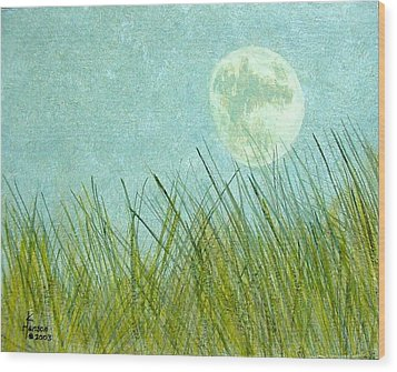 Beach Grass With Moon Wood Print