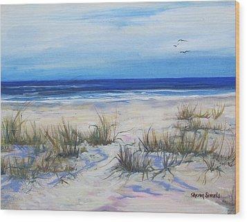 Beach Grasses Wood Print