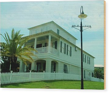 Beach House - Bay Saint Louis Mississippi Wood Print by Deborah Lacoste