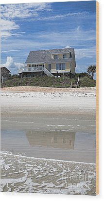 Beach House Wood Print by Kay Pickens