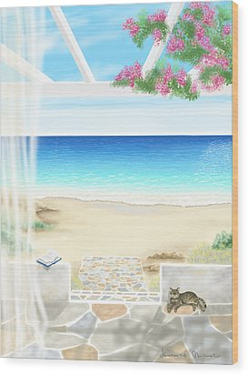 Beach House Wood Print