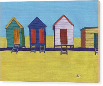 Beach Huts Wood Print by Bav Patel