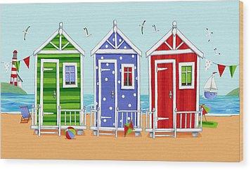 Beach Huts Wood Print by Peter Adderley