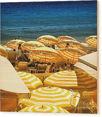 Beach In Cannes  Wood Print by Elena Elisseeva
