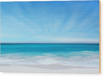 Beach In The Morning Wood Print by Nina Bradica