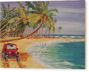 Beach Jeepin' Wood Print