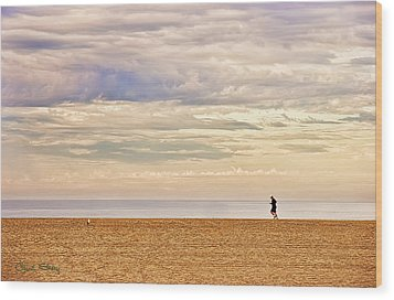 Beach Jogger Wood Print by Chuck Staley