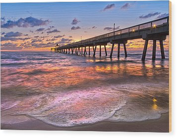 Beach Lace Wood Print by Debra and Dave Vanderlaan