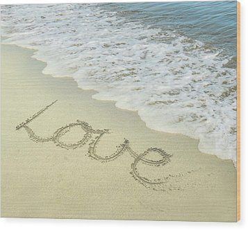 Beach Love Wood Print by Jocelyn Friis