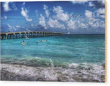 Beach Wood Print by Loyda Herrera
