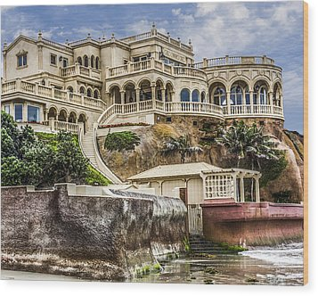 Wood Print featuring the digital art 00003 La Jolla Beach Mansion by Photographic Art by Russel Ray Photos