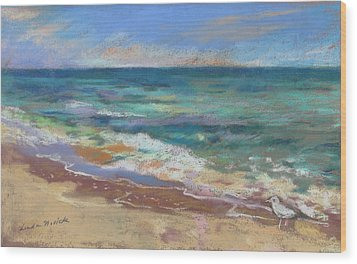 Wood Print featuring the painting Beach Meditation by Linda Novick