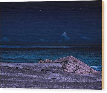 Beach Night Wood Print by Randy Sylvia