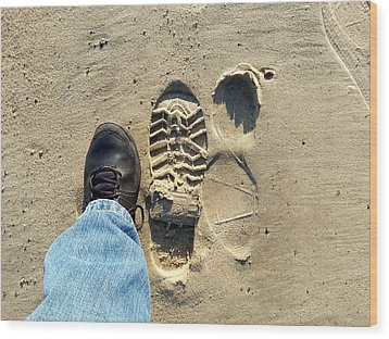 Beach Of Big Feet Wood Print