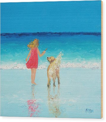 Beach Painting 'sunkissed Hair'  Wood Print