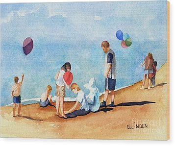 Beach Party Wood Print by Sandy Linden