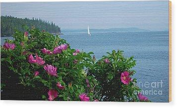 Beach Roses Wood Print