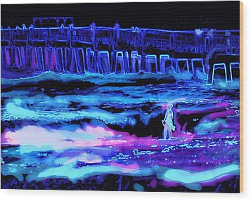 Wood Print featuring the painting Beach Scene At Night by David Mckinney