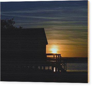 Beach Shack Silhouette Wood Print by William Bartholomew