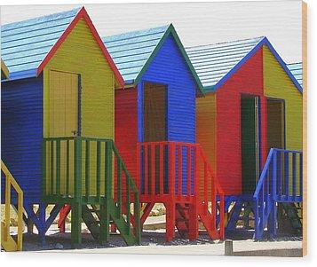 Wood Print featuring the photograph Beach Shacks by Ramona Johnston