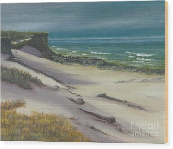 Wood Print featuring the painting Beach Shadows by Jeanette French