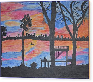Beach Silhouette Wood Print by Sonali Gangane