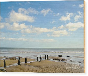 Beach Skies Wood Print by Suzanne Oesterling
