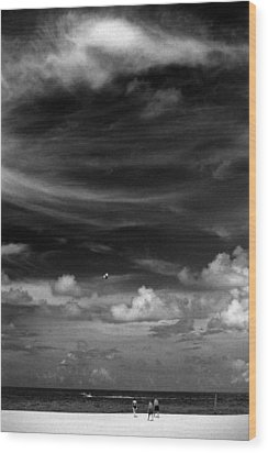 Wood Print featuring the photograph Beach Sky People by Christopher McKenzie