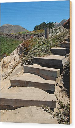Wood Print featuring the photograph Beach Stairs Big Sur by Debra Thompson