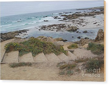 Wood Print featuring the photograph Descending To The Beach Monterey by Debra Thompson