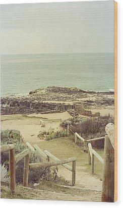 Beach Steps Wood Print by Elaine Teague