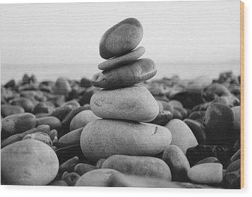 Beach Stones - 3 Wood Print by Jane M