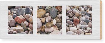 Beach Stones Triptych Wood Print by Stelios Kleanthous