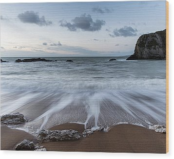 Beach Sunrise Landscape With Long Exposure Waves Movement Wood Print by Matthew Gibson