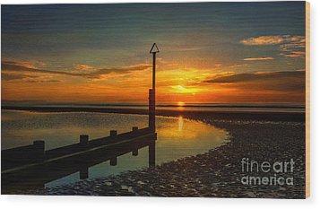 Beach Sunset Wood Print by Adrian Evans
