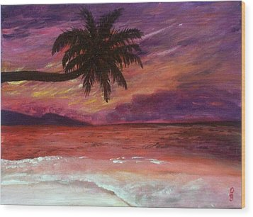 Beach Sunset Wood Print by Debbie Baker