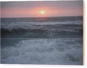 Beach Sunset Wood Print by Holly Blunkall