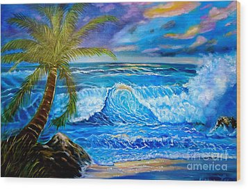 Wood Print featuring the painting Beach Sunset In Hawaii by Jenny Lee
