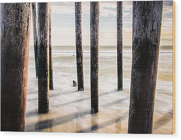 Beach Totems Wood Print by Steve Stanger